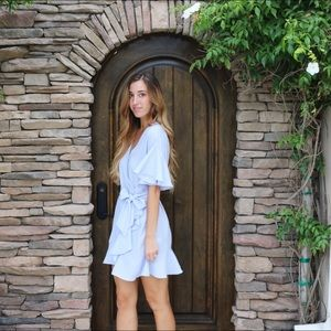 Dresses & Skirts - baby blue wrap dress